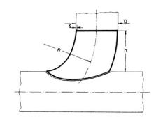133,0 x 4,0 mm Bøjning for indsvejsning