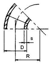 """1.1/4"""" Svejsebøjning 45° SCH STD./40"""