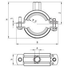 Samontec FRS+ 108-116 mm M8/M10 rørbøjle