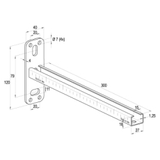 Samontec ALK 27/18-300 mm vægkonsol