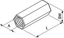 Samontec M10 rustfri, syrefast koblingsstykke