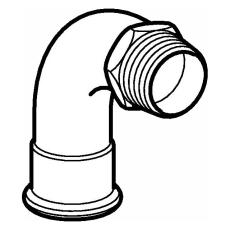 """22 mm x 3/4"""" Bøjning FZ 90° muffe/nippel Mapress"""
