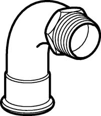 """18 mm x 1/2"""" Bøjning FZ 90° muffe/nippel Mapress"""