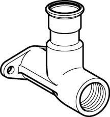 "15 mm x 1/2"" Dækvinkel RF muffe/muffe Mapress"