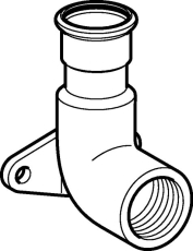 "22 mm x 3/4"" Dækvinkel RF 90° muffe/muffe Mapress"