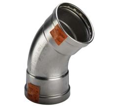 88,9 mm Sanpress Inox bøjning 45°