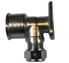 """1/2"""" x 12 mm Kompression dækvinkel forkromet Til kobberrør."""