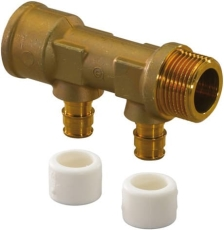 "Uponor Aqua PLUS fordelerrør Q&E NKB DR 3/4""MT/FT 2X15 c/c50"