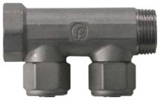 """3/4"""" x 15 mm 2-grens fordelerrør messing TEA belægning m/kob"""