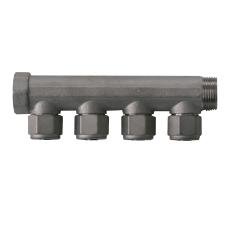 """3/4"""" x 15 mm 4-grens fordelerrør messing TEA belægning m/kob"""