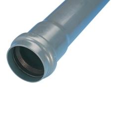 Wavin 75 mm PVC-trykrør med muffe, grå, PN6, 6 m