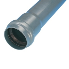 Wavin 90 mm PVC-trykrør med muffe, grå, PN6, 6 m