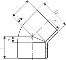 50 mm ABS vinkel 45°
