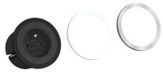 Pix Stikkontakt med 1xSchuko, hvid/sort/stål