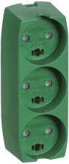 3-Stikdåse M/J grøn
