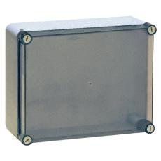 Monteringskasse 190x140x70 mm transparent med hængslet låg
