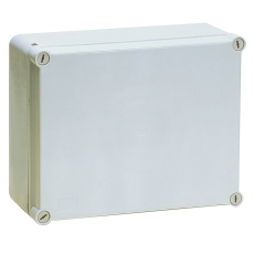Monteringskasse 190x140x70 mm grå med hængslet låg