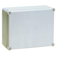 Monteringskasse 300x220x120 mm grå med hængslet låg