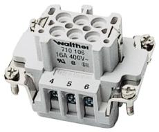 Multistik Indsats B Hun 6P 16A 500V med skrueklemme