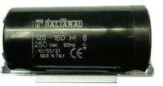 Startkondensator 100-125UF 330V Ø46 x 98 mm, med bøjle