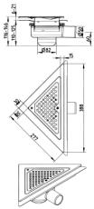 Blücher 50 mm hjørneafløb til smøremembran, uden studs, vand