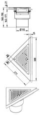 Blücher 110 mm hjørneafløb til smøremembran, uden studs, lod
