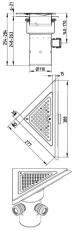 Blücher 110 mm hjørneafløb til smøremembran, med studs, lodr
