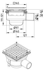 Blücher 50 mm afløbsskål til beton, uden studs, vandret, lav