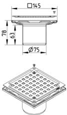 Blücher 75 mm afløbsskål til beton, uden studs, lodret