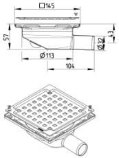 Blücher 32 mm afløbsskål til beton, uden studs, vandret