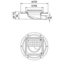 Blücher 32 mm afløbsskål til smøremembran, uden studs, vandr