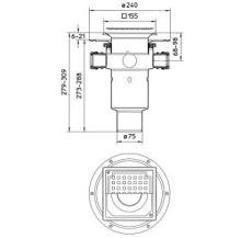 Blücher 75 mm afløbsskål til smøremembran, med studs, lodret