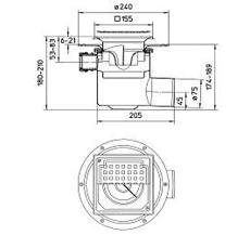 Blücher 75 mm afløbsskål t/smøremembran, m/studs, vandret, f