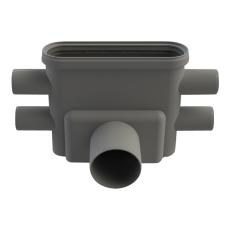 Unidrain 75 mm rendeudløb med vandlås og studs, vandret