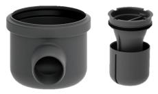 Unidrain 50 mm hjørneudløb med vandlås, uden studs, vandret