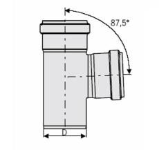 110 x 110 mm x 87,5° Grenrør rustfri afløb AISI304 ACO