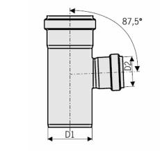 110 x 50 mm x 87,5° Grenrør rustfri afløb AISI304 ACO
