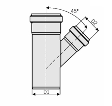110 x 75 mm x 45° Grenrør rustfri afløb AISI304 ACO
