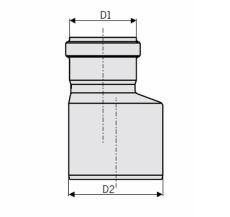 ACO 110 x 50 mm rustfri, syrefast afløbsreduktion, AISI 316