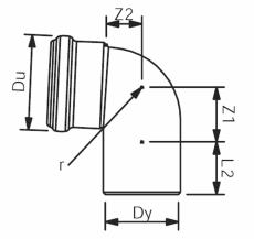 160 mm x 87° Wavin Asto bøjning