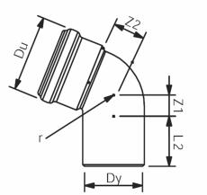 110 mm x 67° Asto bøjning Wavin