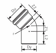 78 mm x 45° Asto bøjning Wavin