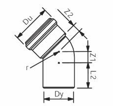 110 mm x 45° Asto bøjning Wavin