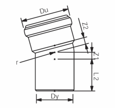 58 mm x 15° Asto bøjning Wavin