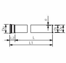 Wavin 75 x 500 mm grå PP-afløbsrør med muffe