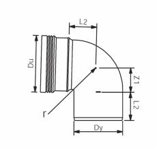 Wavin 75 mm 87° grå PP-afløbsbøjning