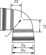 32 mm x 88,5° Bøjning afløb hvid PP Wavin