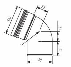 110 mm x 67,5° Bøjning afløb grå PP Wavin