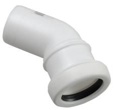 32 mm x 45° Bøjning afløb hvid PP