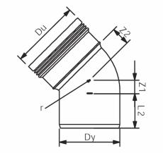 Wavin 32 mm 45° grå PP-afløbsbøjning